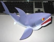 Papercraft imprimible y armable de un Tiburón / Shark. Manualidades a Raudales.